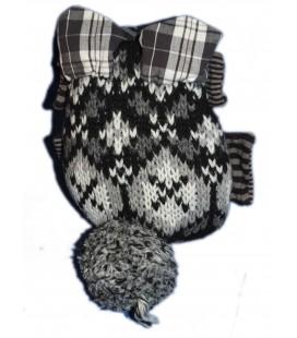 Doudou peluche Souris Hibou Noire grise CATIMINI - Tricot H 18 cm