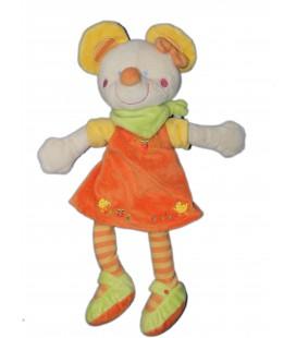Doudou souris Robe orange Foulard vert - H 32 cm - MOTS D'ENFANTS
