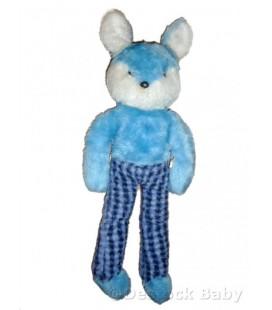 Doudou peluche LAPIN bleu blanc BOULGOM - 50 cm - Longues jambes