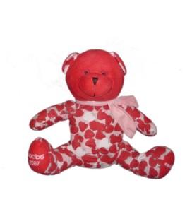Peluche doudou OURS rouge Fraises NOCIBE 2005 Cacharel - H 22 cm