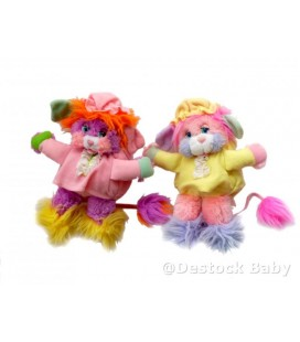 Lot de 2 peluches POPPLES - rose mauve jaune - 24 cm - Mattel