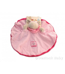 Doudou plat rond SOURIS grise rose LILa - Moulin Roty - a broder Ref 643015