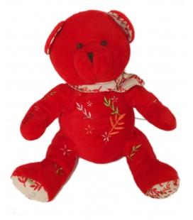 Peluche doudou OURS rouge NOCIBE 2006 Inès - H 22 cm
