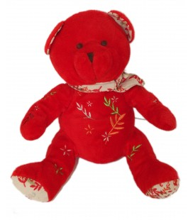 Peluche doudou ours rouge Nocibe 2006 Ines 26 cm