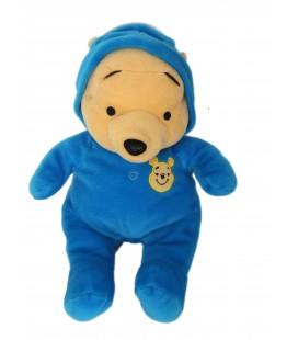 Doudou peluche WINNIE L'OURSON Grenouillère Pyjama bleu foncé H 32 cm DISNEY