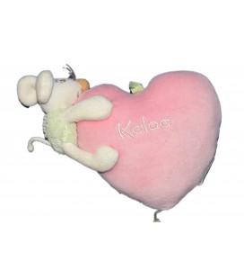 KALOO - Doudou SOURIS Verte - Coeur rose - 18 cm