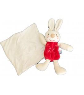 Doudou LAPIN rouge Mouchoir Blanc Cajou SUCRE D'ORGE