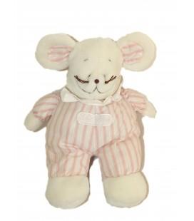 Peluche souris Blanche - Rayures roses - JACADI - 32 cm