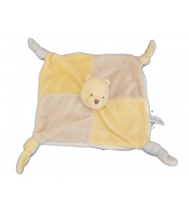 Doudou plat Winnie Disney gris jaune Baby Nicotoy - 587/2055