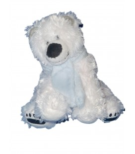 Doudou Peluche OURS polaire blanc - GIPSY - Longs poils - 20 cm