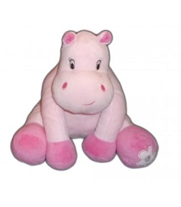 Doudou Hippopotame Vache Rose Arthur et Lola BEBISOL Grelot 20 cm