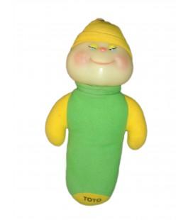 Doudou peluche CHENILLE vert jaune - Phosphorescente - TOTO - 32 cm - AJENA