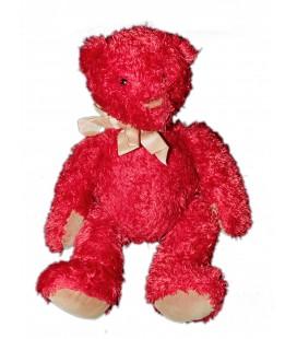 Doudou Peluche OURS rouge bordeaux - MOULIN ROTY - 32 cm