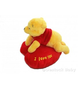 Peluche doudou WINNIE L'OURSON - Coeur I love you - 18 cm