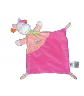 Doudou plat Vache girafe rose - Chat brodé - MOTS D'ENFANTS Siplec