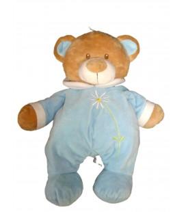 Peluche range-pyjama OURS bleu fleur - FARNOTTE Idem Kiabi - 45 cm