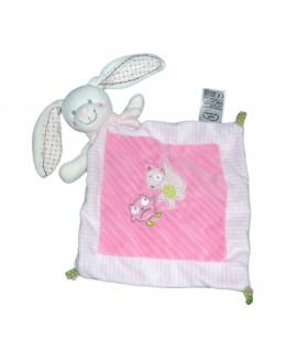 Doudou plat LAPIN rose - Hibou renard brodés - MOTS D'ENFANTS Siplec 587/6798