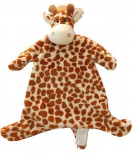 Doudou plat Girafe marron KIMBALOO La Halle 38 cm env.