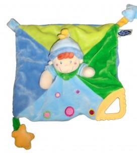 Doudou plat Clown Lutin bleu vert - MOTS D'ENFANTS - Attache Tétine anneau Dentition 579/7060
