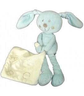 Doudou lapin bleu Pommette mouchoir blanc ABC 22 cm
