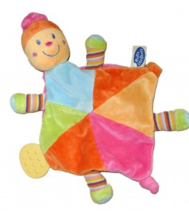 Doudou plat Losange Tortue Lutin Jaune orange rose MOTS D ENFANTS 579/7553
