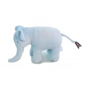 Doudou peluche ELEPHANT bleu JACADI - Grelot - L 24 cm + la queue