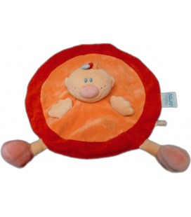 Doudou plat rond - Billy NATTOU Jollymex AUBERT - Orange rouge Spirale brodée