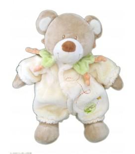Doudou LAPIN beige Combinaison Jaune - TEX Baby - H 26 cm