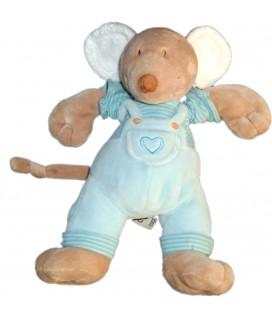 Doudou Souris Salopette bleue Mots d Enfants Coeur 22 cm