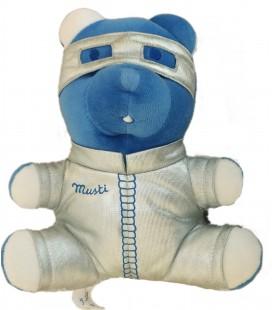 Doudou Ours bleu gris argenté lunette - Musti Mustela - H 20 cm