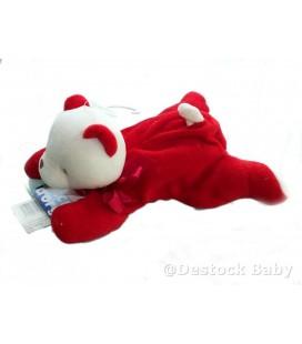 Doudou OURS rouge blanc allongé - SUCRE D'ORGE - 21 cm - Fermeture cadeau
