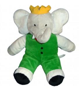 Peluche Doudou Elephant BABAR Gris vert LANSAY 36 cm 10357