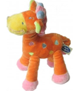 Doudou GIRAFE rose orange MOTS D ENFANTS Siplec Leclerc 25 cm