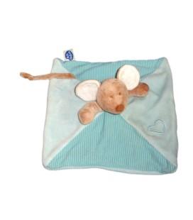 Doudou plat SOURIS bleue beige MOTS D'ENFANTS Coeur 579/5893