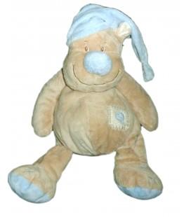 Doudou OURS beige Bonnet bleu DOU KIDOU Jogystar H assis 20 cm