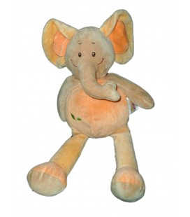Doudou Peluche ELEPHANT orange beige DOU KIDOU Jogystar H totale 40 cm