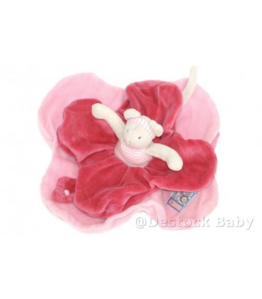 Doudou plat Souris rose Lila Patachon MOULIN ROTY