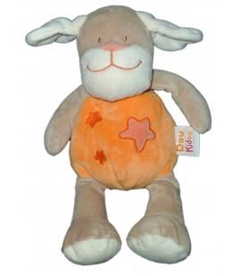 Doudou Peluche CHIEN Orange étoiles DOU KIDOU Jogystar H totale 28 cm