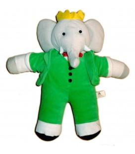 Peluche Doudou Elephant BABAR Gris vert LANSAY 38 cm Ref. 10373