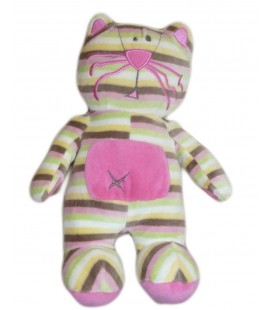 Doudou peluche CHAT rayures - ORCHESTRA - H 26 cm