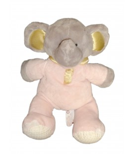 Peluche doudou ELEPHANT gris rose - PEEKO - H 30 cm - Grelot