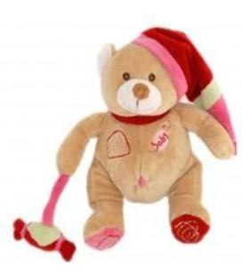 Doudou peluche OURS beige Bonbon Baby Nat' Bonnet rouge 24 cm