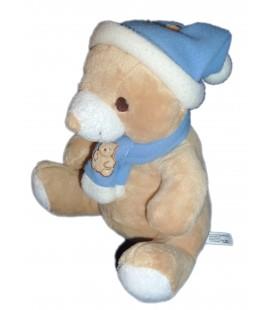 Doudou peluche Ours beige Gingo Biloba Bonnet écharpe bleu blanc 22 cm