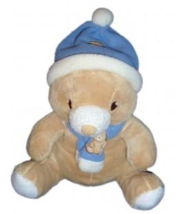 Doudou peluche ours beige Gingo Biloba Bonnet echarpe bleue blanc 24 cm