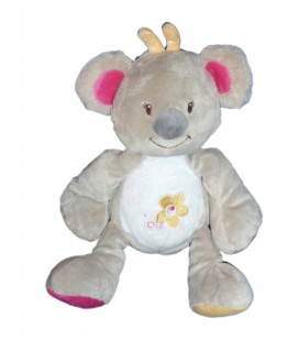 Doudou peluche - KOALA Panda gris rose jaune - Bébisol - Arthur et Lola H 24 cm - 88355