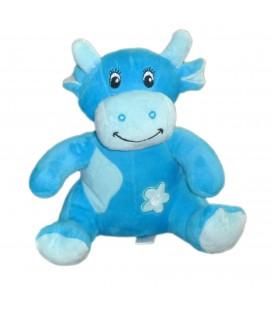 Doudou peluche - VACHE bleue Bébisol Arthur et Lola - Grelot - H 22 cm