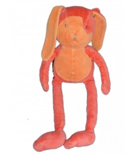 Doudou LAPIN rouge orange MARESE H 40 cm