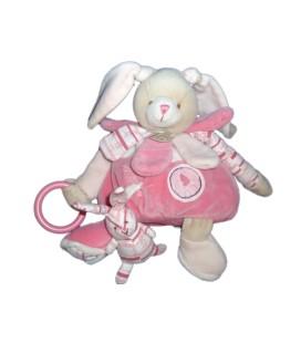 DOUDOU ET COMPAGNIE - LAPIN rose et gris Celestine - Eveil activite 26 cm