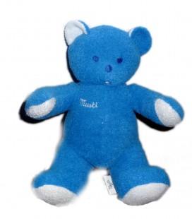 Doudou peluche OURS bleu MUSTI de Mustela 30 cm