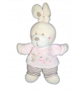 Doudou Lapin rose Nicotoy Simba rayures ABC 26 cm